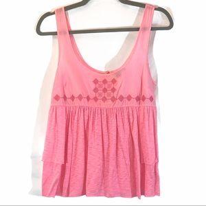 American Eagle sz S pink BOHO babydoll A-line top